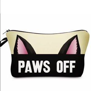🛍2/$15 NEW Paws Off Padded Travel Cosmetic Pouch